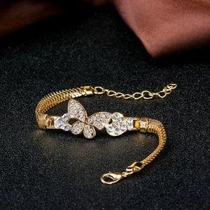 Women Vintage Crystal Butterfly Charm Bracelet